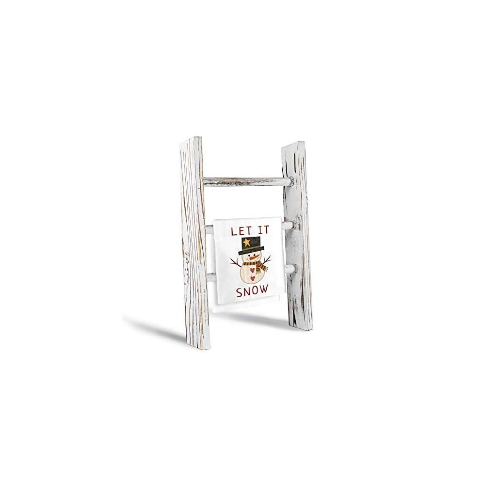 DOCMON Towel Rack-Farmhouse Decor Ladder, 3-Tier Wood Countertop 16-Inch Mini Tea Towel Ladder for Bathroom Kitchen…