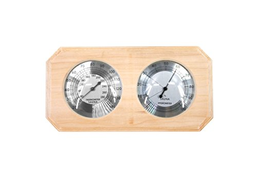 Finnish Accessories Sauna (ALEKO WJ10 Thermo-Hygrometer for Sauna Handcrafted from Finnish Pine)