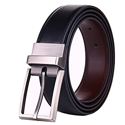 "Beltox Fine Men's Dress Belt Leather Reversible 1.25"" Wide Rotated Buckle Gift Box ..."