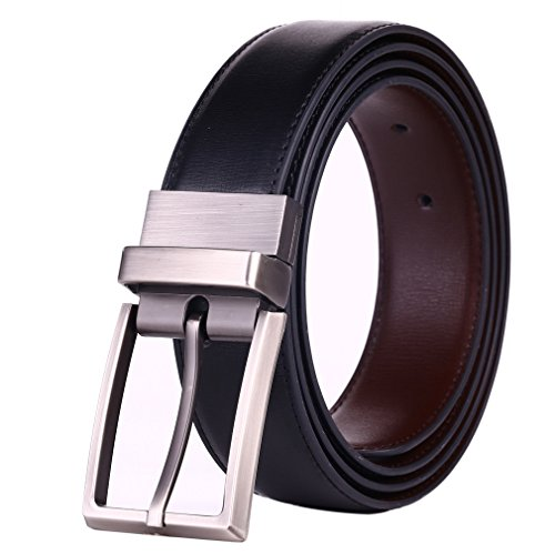 "Beltox Fine Men's Dress Belt Leather Reversible 1.25"" Wide Rotated Buckle Gift Box"