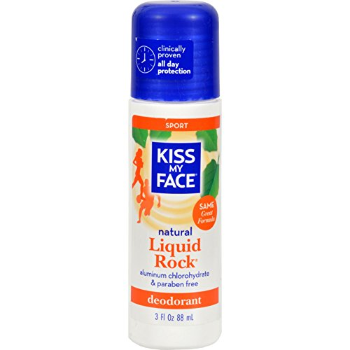 Kiss My Face Deodorant Liquid Rock Roll On Sport - All Day Protection - Aluminum chlorhydrate and Parabens Free - 3 fl oz (Pack of 2)