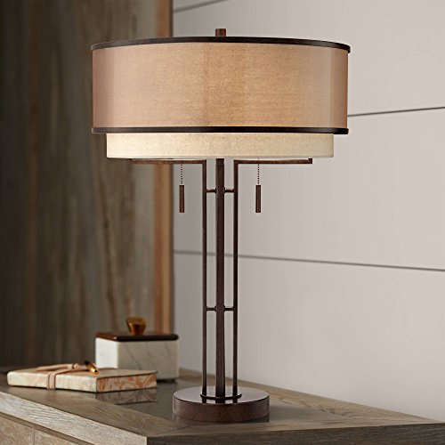 Andes Modern Table Lamp Industrial Dark Oil Rubbed Bronze Metal Double Shade for Living Room Family Bedroom Bedside - Franklin Iron Works ()