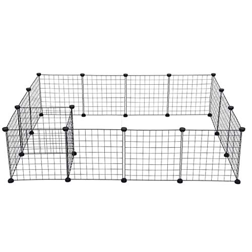 Foldable Metallic Pet Train Canine Playpen Fence Ornamental Backyard Fence Metallic Canine Kennel Train Play Yard Cage 16 Panels – Shipped from US (Black)
