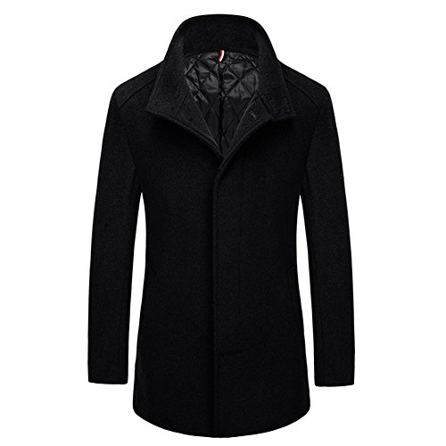 Liveinu Men's Wool Blend Pea Coat Jackets Winter Coat Bla...