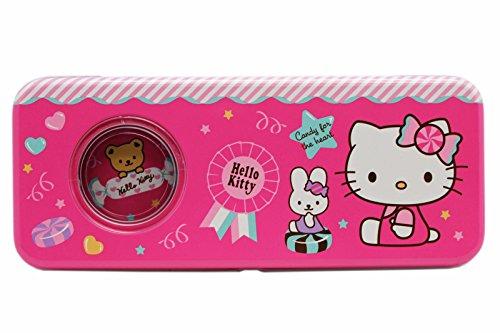 Hello Kitty Pink Dual Layer Tin Pencil Box w/Top Shelf Window