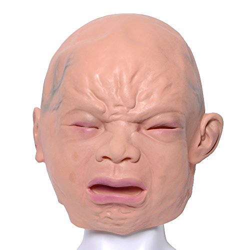 QBSM Novelty Halloween Costume Creepy Party Funny Latex Head Mask Cry Baby Face (Cry Face) (Funny And Creepy)