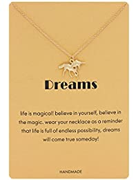 Unicorn Necklace Good Luck Animal Pendant Necklace with Reminder Card for girls