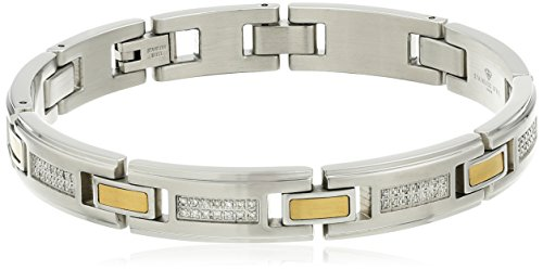 Mens-Diamond-Stainless-Steel-with-Goldtone-Accent-Bracelet-12cttw-I-J-Color-I2-I3-Clarity-85
