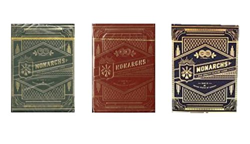 Wilddeckdotcom 3-Pack Monarchs (Red, Green & Blue) Playing Cards by Theory -