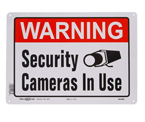 Hillman 843296 Warning Security Cameras In Use Sign, White, Red and Black Aluminum Metal, 10x14 Inches 1-Sign]()