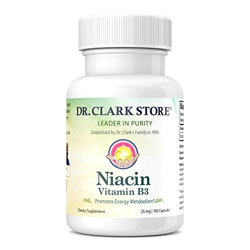 Dr. Clark Niacin (Vitamin B3) Supplement, 25mg, 100 capsules