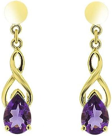 Boucles d'oreille - Pendientes de mujer de oro amarillo (9k) con amatistas