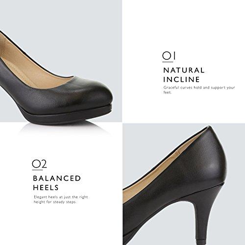 Shoes Platform Leather Classic Toe DailyShoes Low Black Ankle Pu Heels Strap Platform Pumps Party Round Women's Dress fxBO4q