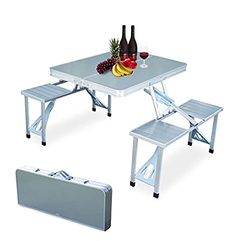 Outdoor Camping Aluminum Portable Folding Picnic Table With 4 Seats (Two Dogs Designs Fire Pit Cover)
