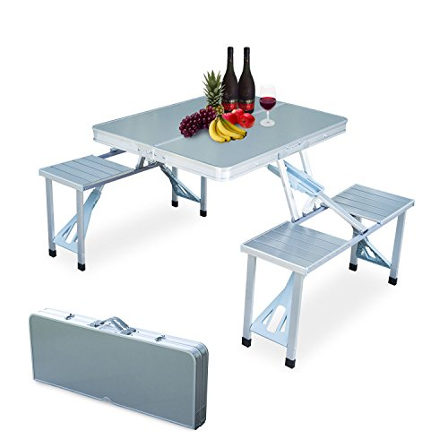 Outdoor Camping Aluminum Portable Folding Picnic Table With 4 Seats by Eaglelnw