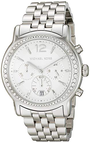 Michael Kors Women's Baisley Quartz Watch with Stainless-Steel Strap, Silver, 18 (Model: MK5981)