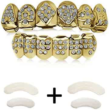 Gold Grillz Poker Set Iced Out 24K Plated Gold Grill Excellent Cut Top & Bottom Caps Set and Rhinestone Like Diamonds Gag Gift for Halloween gift