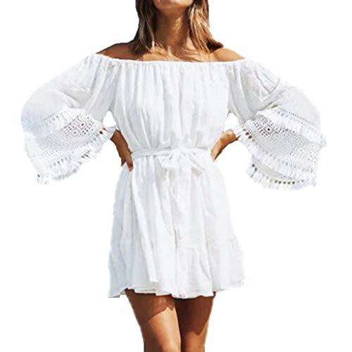 Damen Boho Badekleid Schulterfrei Sommer Strandkleid Bikini Vertuschen Minikleid