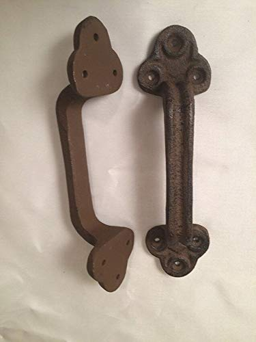 LuxMart Lot of 2 Cast Iron Gate Shed Barn Door Pull Handle 9'' Large & Sturdy 0170-05124
