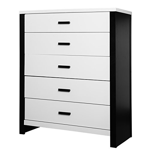 Cafeina 5 Drawer Dresser, Black/White