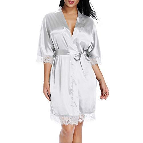 Cnokzol Women Sexy Silk Sleepwear Satin Lace Trim Nightwear Short Kimono Robe(L,Cream White 30) (Cream White Silk)