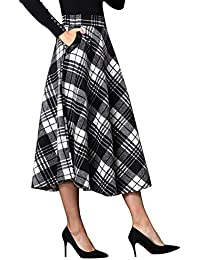 Womens High Elastic Waist Maxi Skirt A-line Plaid Winter Warm Flare Long Skirt