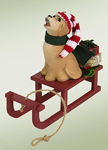 Byers' Choice Dog with Sled Christmas Figure Red Sled