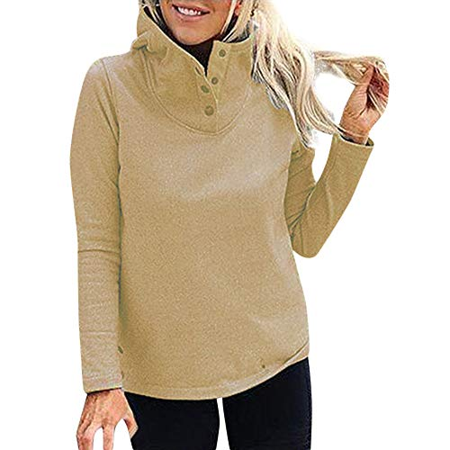 Respctful (●˙▾˙●) Women's Fashion Long Sleeve Hooded Pullover High Neck Hooded Sweater Solid Hooded Tops Warm Hooded Pullover by Respctful