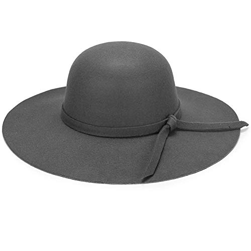 YSense Womens Wide Brim Ribbon Band Fedora Floppy - Hat Wool Band Felt
