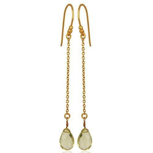 Lemon Topaz Briolette Sterling Silver Ear Threader Earrings (Topaz Earrings Chalcedony Blue)