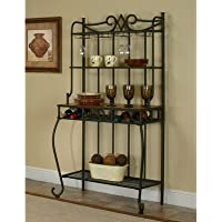 Plymouth Étagère 4 Tier Elegant Scrolled Bakers Rack with Wine Storage Overall: 64.5 H x 35.5 W x 17.5 D