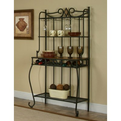 Plymouth Étagère 4 Tier Elegant Scrolled Baker's Rack with Wine Storage Overall: 64.5'' H x 35.5'' W x 17.5'' D 4 Shelf Glass Bakers Rack