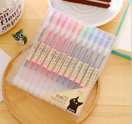 Colorful Gel Pen [12 in a Pack] - 0.5 mm Fine Tip Pen with Non Toxic, Odor Free, Neutral Gel Ink. Office Stationery from NYKKOLA