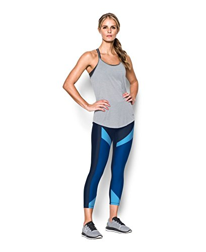 Under Armour Women's HeatGear Color Blocked Ankle Crop, Midnight Navy /Metallic Silver, X-Small by Under Armour (Image #2)