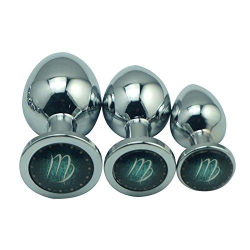New Design 12 Constellation Symbols Small Medium Large 3Pcs As 1 Set Metal Anal Beads Butt Plug SM Sex Toys for Men Women Aries