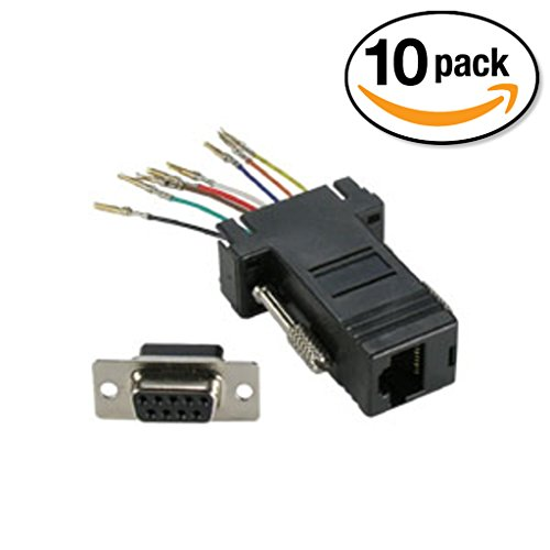 Db9 Female Mouse Adapter (InstallerParts (10 Pack) DB9 Female to RJ45 Modular Adapter, Black)