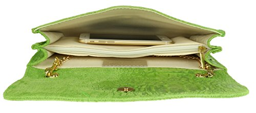 Bag Suede Clutch Girly Leather Italian Green Light HandBags Croc Iq6E4