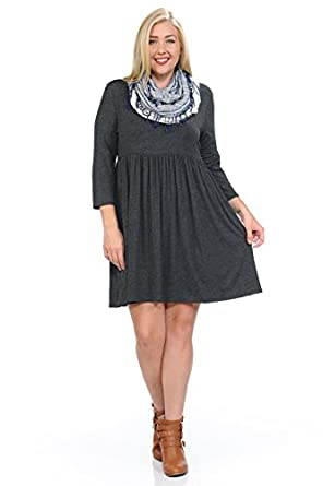 Pastel By Vivienne Womens Relaxed Babydoll Plus Size Dress