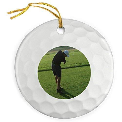 (weewen Personalized Golf Porcelain Ornament Photo in Golf Ball Ornament Funny Holiday Crafts Ornaments Home Christmas Tree Decor)