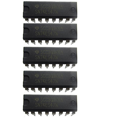 5 Pcs 74LS47 SN74LS47N DIP-16 BCD TO 7-SEGMENT DECODER/DRIVER for Common Anode Digital Display Tube