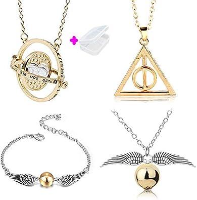 PPX Juego de 4 Collares de Harry Potter con Forma de Serpiente Dorada para los Fans de Harry Potter, colección de Regalos mágicos para Cosplay, joyería para Mujer y niña,con Caja Transparente:
