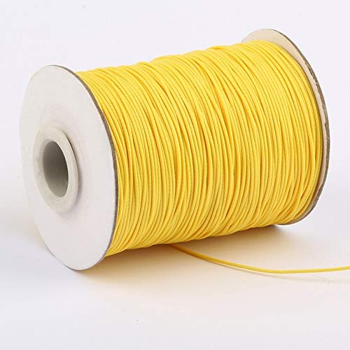 (FINCOS 10 Meters/roll 1mm Waxed Cord Multicolor Wax Cotton Cord for DIY Jewelry Bracelet Necklace Bead Accessories - (Color: Yellow))
