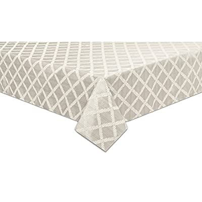 "Lenox Laurel Leaf 70""x144"" Oblong Tablecloth, Platinum - Textured Solid Woven Damask Seats a table up to 12 to 14 people Machine washable in cold water with like color - tablecloths, kitchen-dining-room-table-linens, kitchen-dining-room - 41iyak1uwVL. SS400  -"