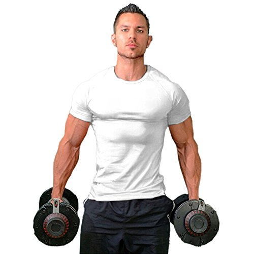 lim Fit Athletic Bodybuilding T-Shirts(White-L-M) ()