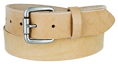 Natural Finish Full Grain Leather Belt with Roller Buckle 1 1/2