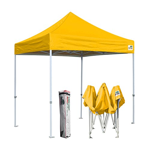 Eurmax 8x8 Feet Ez Pop up Canopy, Outdoor Canopies Instant Party Tent, Commercial Gazebo Bonus Roller Bag (Gold)