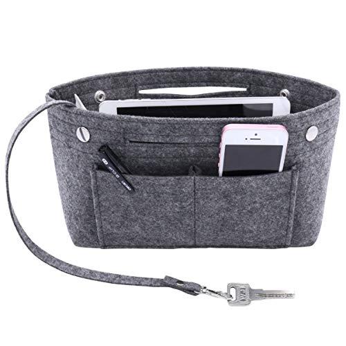 VANCORE Felt Insert Handbag Organizer Travel Purse Bag Organiser Dark grey Large
