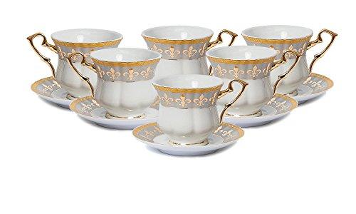 Complete Tea Set - Euro Porcelain 12-Pc. Fleur-de-Lis Tea Cup Coffee Set, Premium Bone China, 24K Gold-Plated, Complete Service for 6, Original Czech Tableware