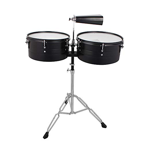 Festnight 2 Pieces Drum Set Full Size 2 Drum with Drum Stick Cowbell Drum Stool for Junior Kids - Set Steel Timbale
