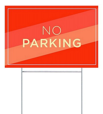 Parking Sign Stands - CGSignLab |No Parking -Modern Diagonal Double-sided Corrugated Plastic Yard Sign with Wire H-Stake Stand | 18